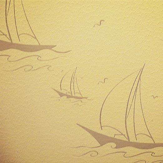 帆船液体壁纸印花 质感墙纸 立体墙艺 硅藻泥丝网印花模具BE001