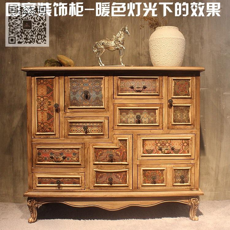 民族图案风格装饰柜 斗柜 图案复古家具 装饰柜酒吧咖啡厅装饰柜