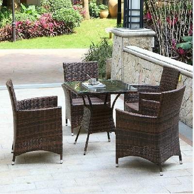 休闲藤编桌椅五件套阳台庭院公园咖啡厅椅子茶几藤艺仿藤户外家具