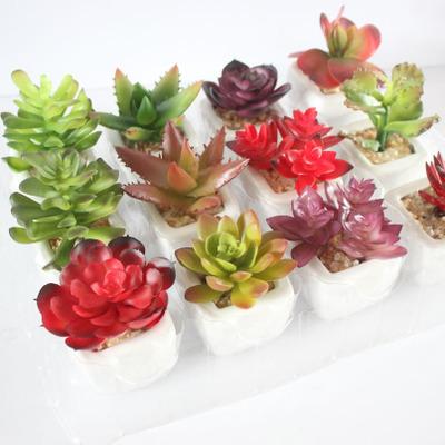 迷你仿真多肉植物盆景 仿真花创意摆件