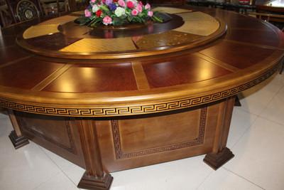 豪华电动餐桌酒店桌子板式多功能电动圆桌宾馆酒店软包餐椅