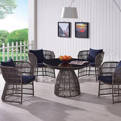 户外休闲藤制桌椅 户外家具别墅仿藤餐桌椅 庭院藤椅茶几五件套