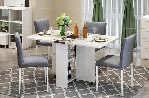 可移动柜脚 折叠储物多功能长餐桌 新技术餐桌 新型建材网