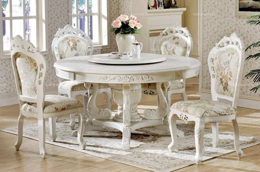 尊贵—永恒不变 精致雕花1.3米实木圆餐桌 多功能餐桌